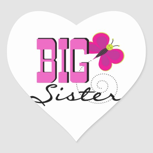 Big Sister - Butterfly Gifts Heart Sticker