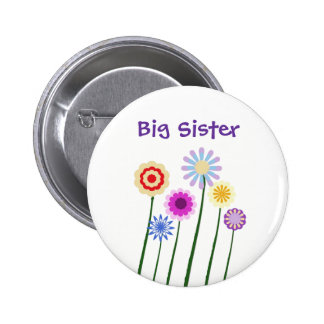 Big sister, colorful digital art flowers button