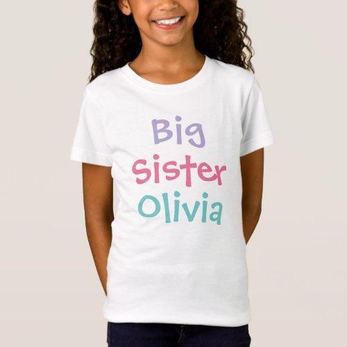 Big Sister Colorful Monogram Girls T_Shirt
