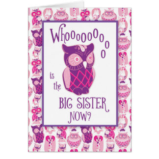 Big Sister Congratulations, Cute Owls Card