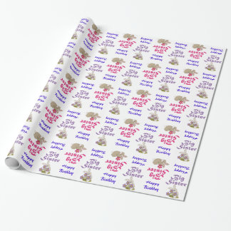Big Sister Cute Bunnies Happy Birthday Wrapping Paper