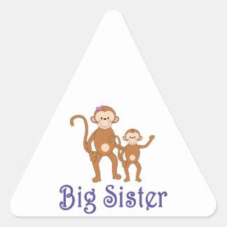 Big Sister Cute Monkeys 2 Triangle Sticker