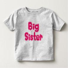BIG SISTER Cute Sibling Pink Word Text Print Toddler T-shirt