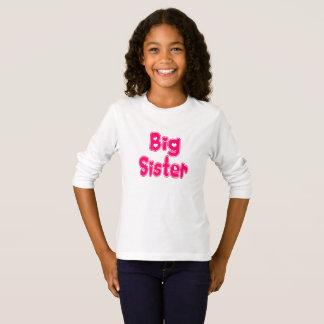 BIG SISTER Cute Sibling Pink Word Text T-Shirt