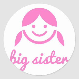 big sister design with cute pink girl icon face classic round sticker