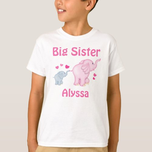 Big Sister Elephant Personalized T_shirt