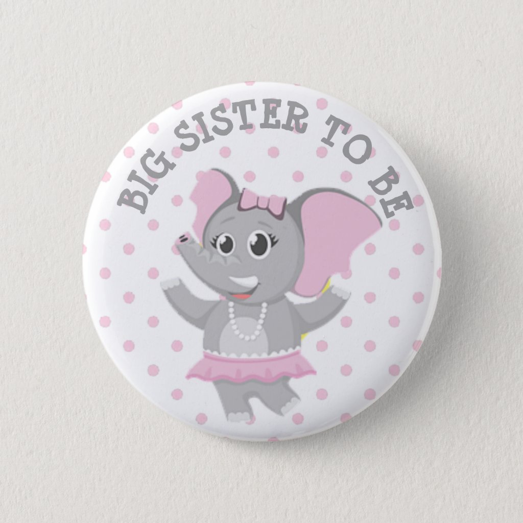 Big Sister Elephant Pink Polka Dot Baby Shower Pin