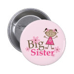 Big Sister Ethnic Stick Figure Girl 2 Inch Round Button
