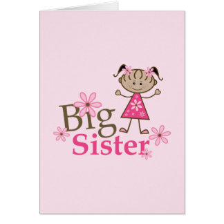 Big Sister Ethnic Stick Figure Girl Greeting Card
