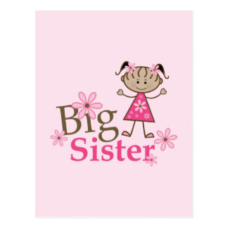 Big Sister Ethnic Stick Figure Girl Postcard