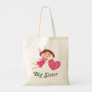 Big sister fairy with love heart tote bag
