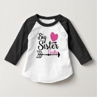 Big Sister Finally Pink Heart Arrow Raglan