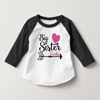 Big Sister Finally Pink Heart Arrow Raglan T-Shirt