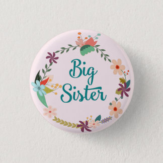 Big Sister Floral Wreath Pin