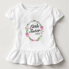 Big Sister florals wreath Name Toddler T-shirt