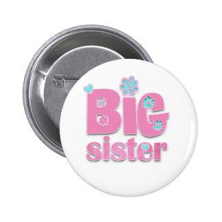 Big Sister Flower Pinback Buttons