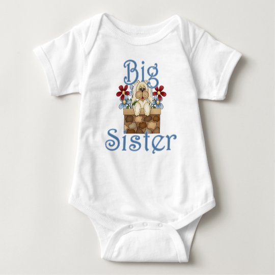 Big Sister Fluffy Pup 3 Baby Bodysuit