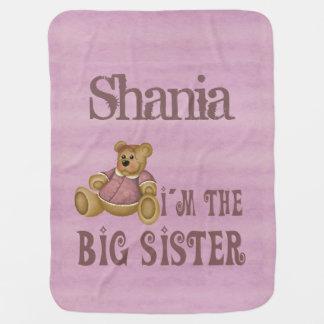 Big Sister Girl Bear Stroller Blanket