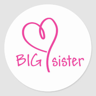 Big Sister Heart Sitckers Classic Round Sticker