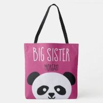 Big Sister Kawaii Panda Bear Face Animal Sibling Tote Bag