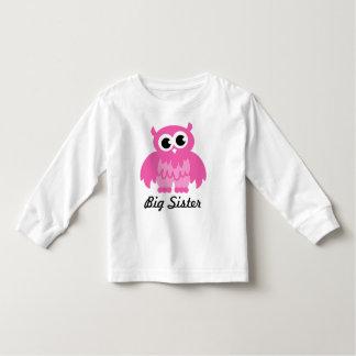 Big sister kids t shirt with pink owl cartoon