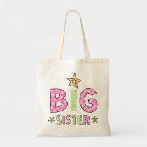 Big sister kids tote bag with stars