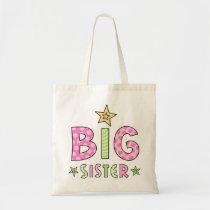 Big sister kids tote bag with stars