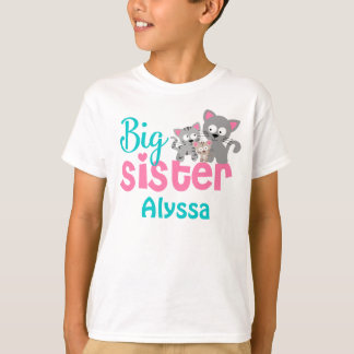 Big Sister Kitty Cat Pink Teal Personalized shirt