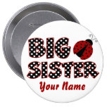 Big Sister Ladybug Red Personalized Button