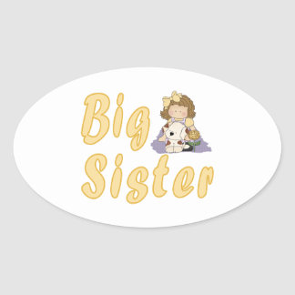 Big Sister Little Friends 2 Oval Sticker