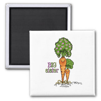 Big Sister - little sibling 2 Inch Square Magnet