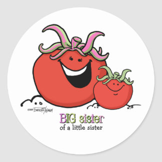 Big Sister - little sibling - Tomato Classic Round Sticker