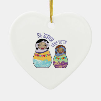 Big Sister Little Sister Double-Sided Heart Ceramic Christmas Ornament