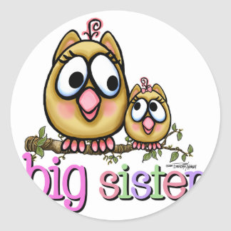 Big Sister Little Sister Owls Classic Round Sticker