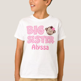Big Sister Monkey Personalized T-shirt