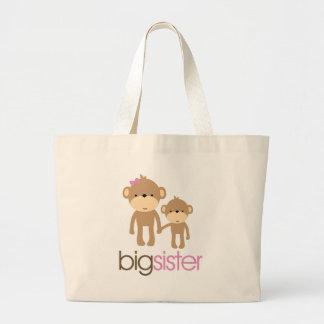 Big Sister Monkey Pregnancy Announcement T-shirt Large Tote Bag