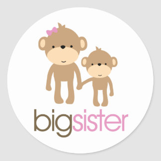 Big Sister Monkey Pregnancy Announcement T-shirt Round Stickers