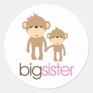 Big Sister Monkey Pregnancy Announcement T-shirt Classic Round Sticker