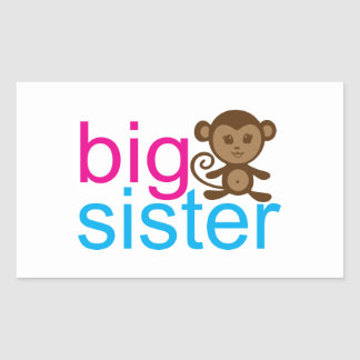 Big Sister Monkey Rectangular Sticker