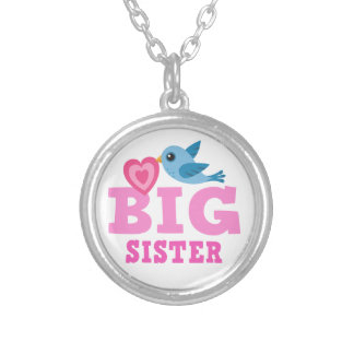 Big sister necklace, cute cartoon bird with heart silver plated necklace