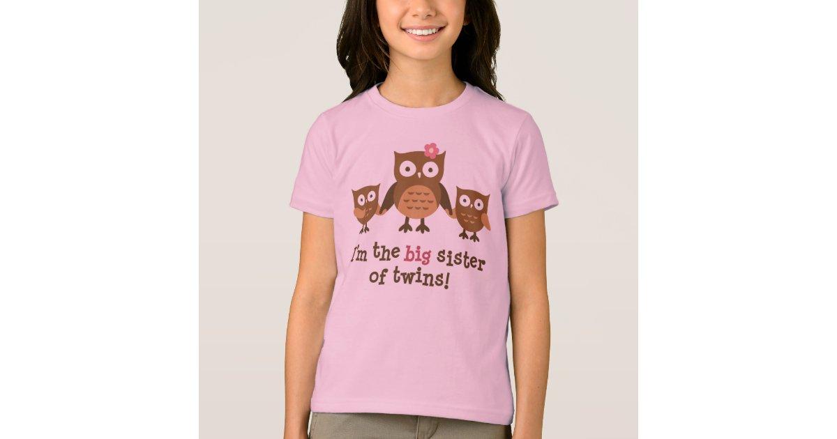 Big Sister Of Twins Mod Owl T Shirts For Girls Zazzle Com