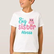 Big Sister Owl Pink Teal Personalized shirt