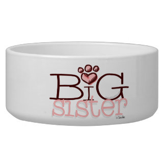Big Sister Paw Print Design Dog Water Bowls