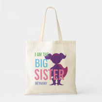 Big Sister Personalized Superhero Silhouette Girls Tote Bag