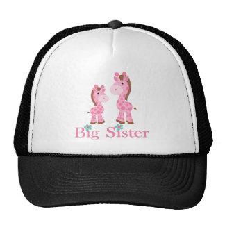 Big Sister Pink and Brown Giraffes Trucker Hat