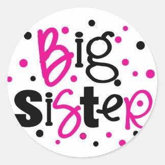 BIG SISTER pink /black Polka dot T-shirt Classic Round Sticker