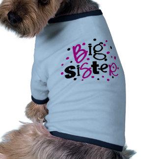 BIG SISTER pink black polkadot Dog Tee