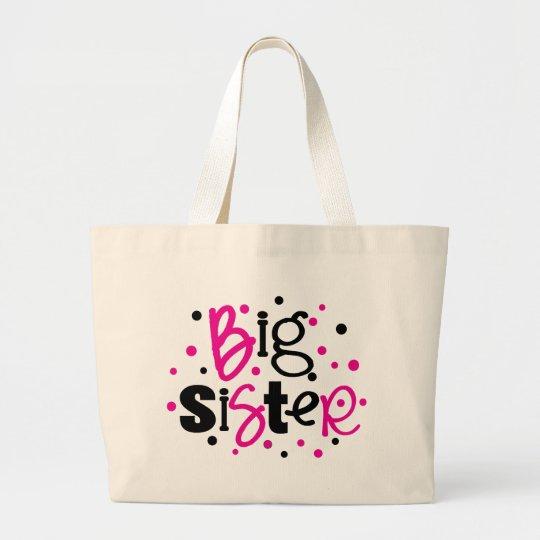 BIG SISTER pink black polkadot Large Tote Bag