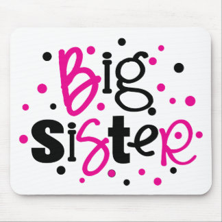 BIG SISTER pink black polkadot Mouse Pad