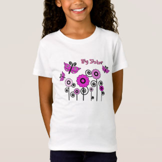 Big Sister, pink butterflies and  flowers T-Shirt